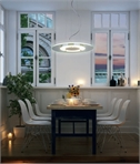 Circular Glass & Chrome LED Pendant