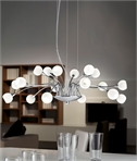 18 Light Modern Chandelier with Opal or Crystal Glass Shades