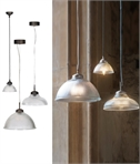 La Parisienne - Ribbed Glass Light Pendants in Nickel or Bronze
