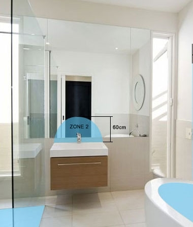 Bathroom Lighting Zones - Sinks